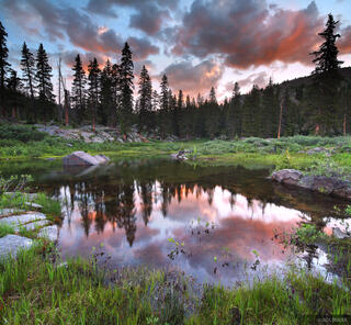 Weminuche Wilderness, Colorado, Flint Lakes, sunset