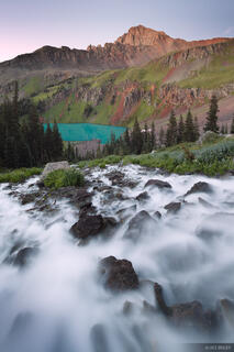 Blue Lakes, waterfall, San Juan Mountains, Sneffels, Colorado