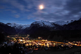 Engelberg, Switzerland, moon, town, Urner, Alps