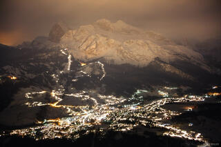 Cortina, Dolomites, Italy, night, lights, Alps