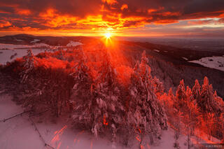 Schauinsland, sunset, Black Forest, Germany, Freiburg, winter