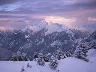 Ahornspitze, Mayrhofen, Austria, sunset, Zillertal