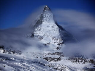 Matterhorn, winter, moonlight, Zermatt, Switzerland, Pennine