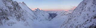 Hollandiahutte, sunrise, panorama, Bernese Oberland, Switzerland