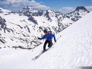 tele, skier, San Juan Mountains, Colorado, skiing, June