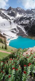 Blue Lake, Dallas Peak, Sneffels Range, San Juan Mountains, Colorado, panorama