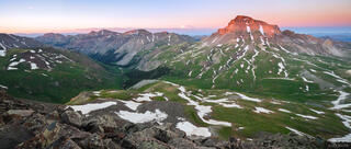 Uncompahgre Peak, sunset, panorama, fourteener, San Juan Mountains, Colorado