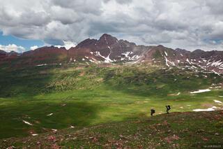 Frigid Air Pass, Maroon Bells, Elk Mountains, Colorado, hikers, Fravert Basin, Maroon Bells-Snowmass Wilderness