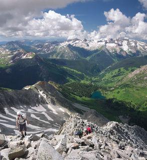 climbers, Snowmass Mountain, west ridge, Elk Mountains, Colorado, Maroon Bells-Snowmass Wilderness