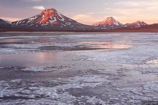 Laguna Lejia, Atacama, Chile, Vulcan Simba, Cerro Acamarachi, Amarchi, Pili, Simba, Aguas Calientes, volcano, sunset, oc