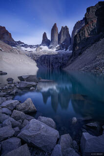 Las Torres, Torres del Paine, Chile, moonlight