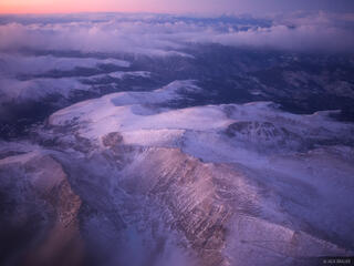 Mt. Evans, Aerial, sunset, Colorado, January, winter