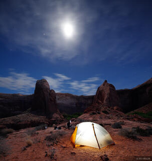 Coyote Gulch, Escalante, Utah, moonlight, camping, tent, Glen Canyon National Recreation Area