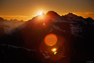 solar eclipse, Potosi Peak, Mt. Sneffels, San Juan Mountains, Colorado, sunset