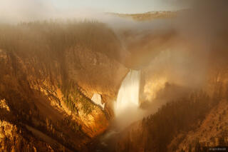 Grand Canyon of the Yellowstone, Yellowstone National Park, Wyoming, sunrise, waterfall, Lookout Point