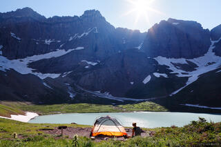 Glacier National Park, Montana, camping, tent, Cracker Lake, July