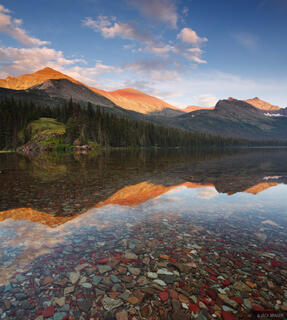 Elizabeth Lake, Seward Mountain, sunset, Glacier National Park, Montana, reflection