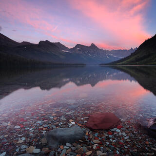 Elizabeth Lake, Ptarmigan Wall, Glacier National Park, Montana, sunset