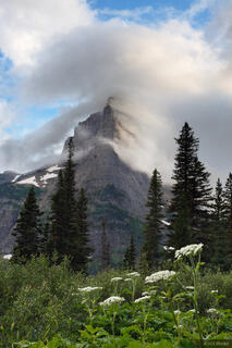 Pyramid Peak, Glacier National Park, Montana, clouds