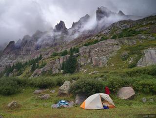 tent, camping, Weminuche, San Juan Mountains, Colorado, stormy