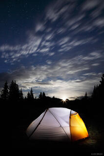 Moonrise, Weminuche Wilderness, San Juan Mountains, Colorado, tent