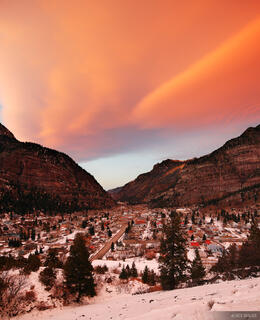 Ouray, Colorado, sunset, San Juan Mountains, December