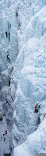 Ouray Ice Park, Colorado, ice climbers, climbing, ice, panorama