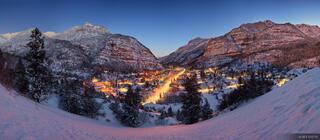 Ouray, San Juan mountains, Colorado, winter, panorama, dawn, february, lights