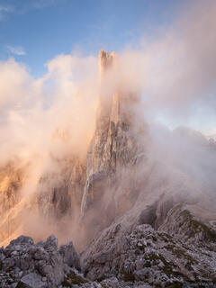 Dolomites,Italy,Rosengarten, Vajolet Towers, clouds