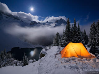 Blue Lakes, Sneffels, San Juan Mountains, Colorado, winter, camp, tent, snow, moonlight