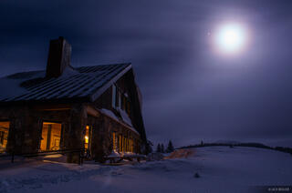 Colorado, Fowler Hilliard Hut, Gore Range, January, moonlight, hut. 10th Mountain Division
