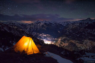 Bridge of Heaven, San Juan Mountains, Colorado, Ouray, February, night, stars, tent, camping