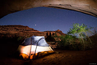Choprock Canyon, Escalante, Escalante National Monument, Utah, alcove, camping, tent, stars, Grand Staircase-Escalante National Monument