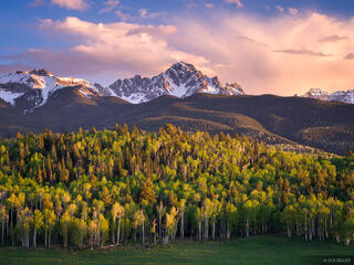 Mt. Sneffels, Colorado, San Juan Mountains, May, spring, aspens, sunset