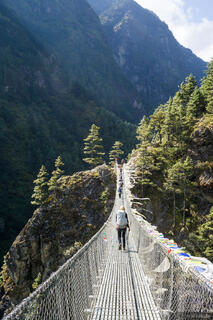 Himalaya,Khumbu,Nepal, Dudh Koshi, bridge, hiking