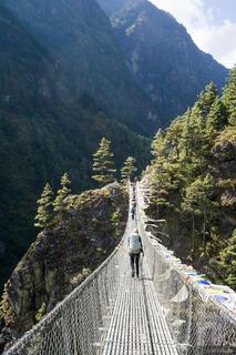 Himalaya,Khumbu,Nepal, Dudh Koshi, bridge, hiking
