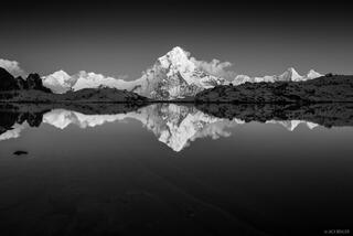 Ama Dablam Alpenglow Reflection B&W