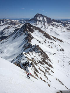 Colorado, San Juan Mountains, Uncompahgre Wilderness, Wetterhorn Peak, skiing, Uncompahgre Peak