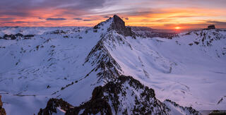 Colorado,San Juan Mountains,Uncompahgre Wilderness,Wetterhorn Peak, panorama, sunset