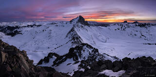 Colorado,San Juan Mountains,Uncompahgre Wilderness,Wetterhorn Peak, sunset, panorama