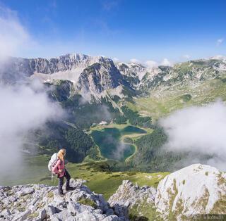 Trnovacko Jezero, hiker, Montenegro, Bosnia,Dinaric Alps