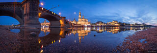 Dresden, Elbe River, Kofkirche, cathedral,Germany, reflection