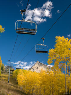 Colorado,Crested Butte, chairlift, autumn, aspens, september