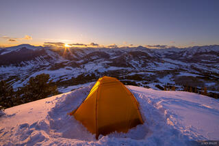Colorado, Crested Butte, tent, Ruby Range, Elk Mountains, sunset