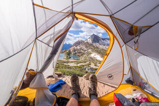 British Columbia, Canada, Canadian Rockies, Height of the Rockies, Limestone Lakes, tent, BC