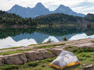 British Columbia, Canada, Canadian Rockies, Height of the Rockies, Limestone Lakes, Mount Cadorna, Mount Swiderski, tent