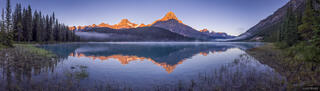 Alberta, Banff National Park, Canada, Canadian Rockies, Mount Chephren, Waterfowl Lakes, Howse Peak, reflection, sunrise, panorama