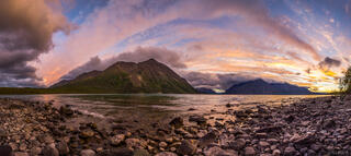 Canada, Kathleen Lake, Kluane National Park, Yukon, King's Throne, panorama