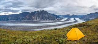Canada, Kaskawulsh Glacier, Kluane National Park, Slims River, Yukon, tent