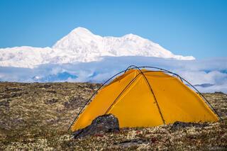 Alaska, Alaska Range, Denali, Denali State Park, Kesugi Ridge, tent